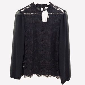 NEW Forever21 Lace Blouse, Black